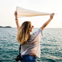 healthy woman at the sea