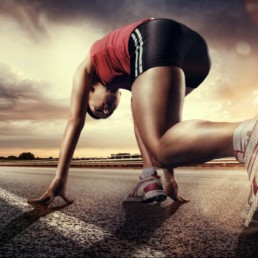 athlete in great health about to start running